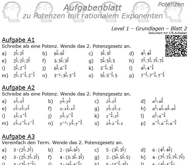 Potenzen mit ratonalem Exponenten Aufgabenblatt Level 1 / Blatt 2 © by www.fit-in-mathe-online