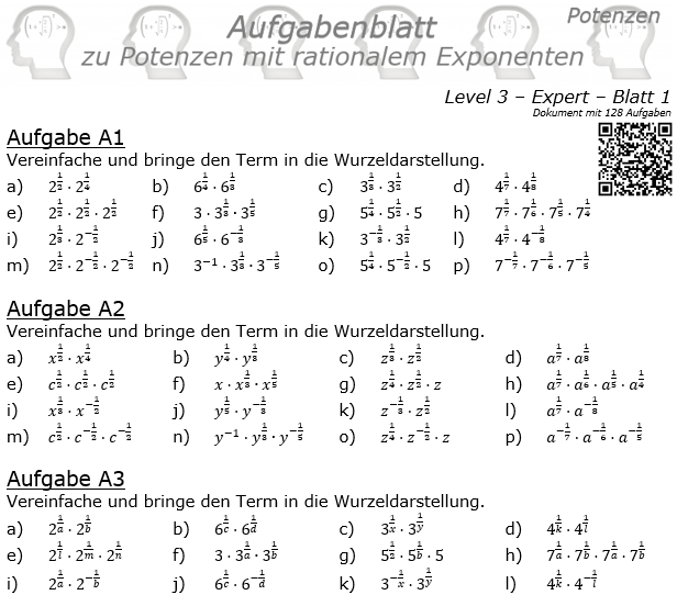 Potenzen mit ratonalem Exponenten Aufgabenblatt Level 3 / Blatt 1 © by www.fit-in-mathe-online