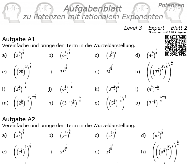Potenzen mit ratonalem Exponenten Aufgabenblatt Level 3 / Blatt 2 © by www.fit-in-mathe-online