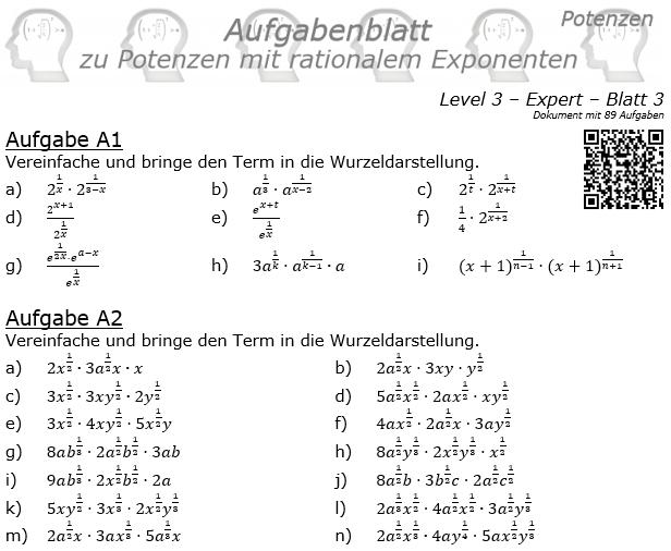 Potenzen mit ratonalem Exponenten Aufgabenblatt Level 3 / Blatt 3 © by www.fit-in-mathe-online