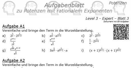 Potenzen mit rationalem Exponenten | 89 Expert-3-Aufgaben