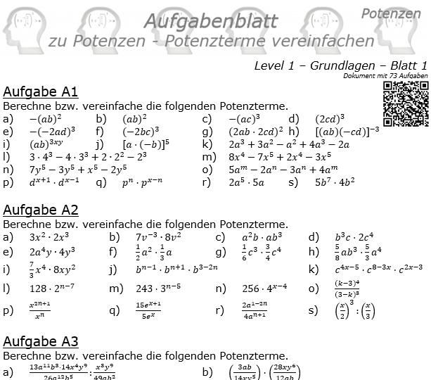 Potenzterme vereinfachen Aufgabenblatt Level 1 / Blatt 1 © by www.fit-in-mathe-online
