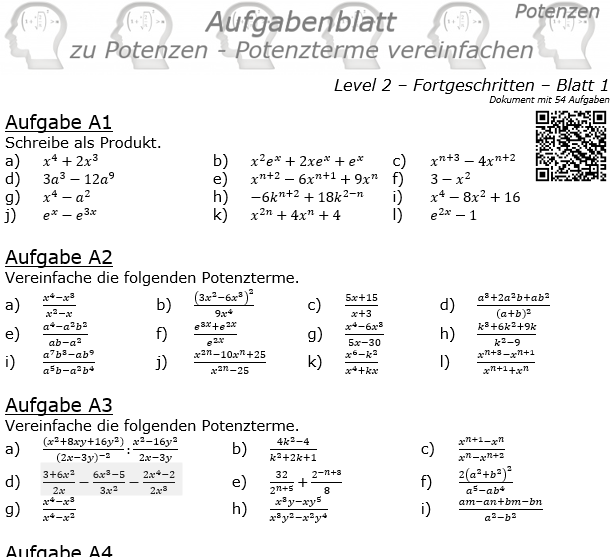 Potenzterme vereinfachen Aufgabenblatt Level 2 / Blatt 1 © by www.fit-in-mathe-online