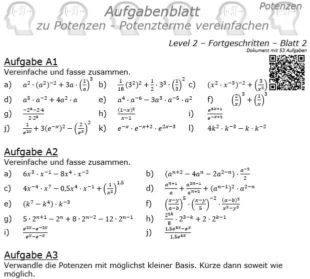 Potenzterme vereinfachen Aufgabenblatt Level 2 / Blatt 2 © by www.fit-in-mathe-online