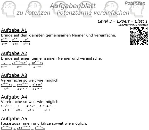 Potenzterme vereinfachen Aufgabenblatt Level 3 / Blatt 1 © by www.fit-in-mathe-online