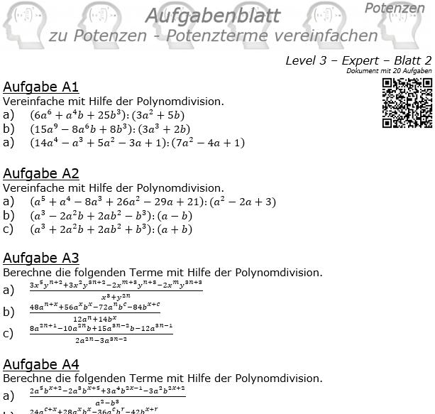 Potenzterme vereinfachen Aufgabenblatt Level 3 / Blatt 2 © by www.fit-in-mathe-online