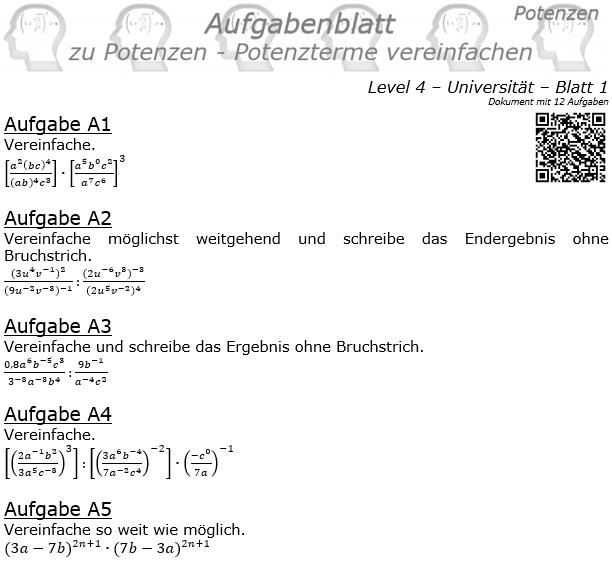 Potenzterme vereinfachen Aufgabenblatt Level 4 / Blatt 1 © by www.fit-in-mathe-online