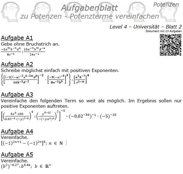Potenzterme vereinfachen Aufgabenblatt Level 4 / Blatt 2 © by www.fit-in-mathe-online