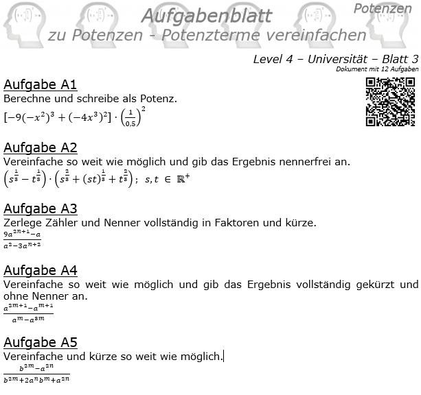 Potenzterme vereinfachen Aufgabenblatt Level 4 / Blatt 3 © by www.fit-in-mathe-online