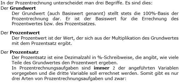 In der Prozentrechnung unterscheidet man drei Begriffe.  (Grafik WALL0001 in den WIKIs zur Prozentrechnung) /© by www.fit-in-mathe-online.de)