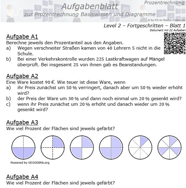 Prozentrechnung Basiswissen Aufgabenblatt 2/1 / © by Fit-in-Mathe-Online.de