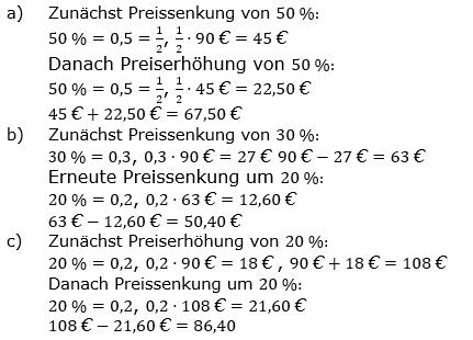 Prozentrechnung Basiswissen Lösungen zum Aufgabensatz 2 Blatt 2/1 Fortgeschritten Bild 1/© by www.fit-in-mathe-online.de