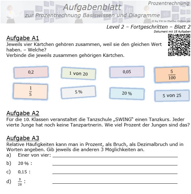 Prozentrechnung Basiswissen Aufgabenblatt 2/2 / © by Fit-in-Mathe-Online.de