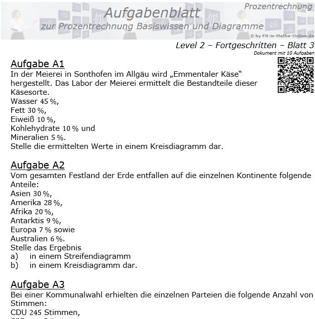 Prozentrechnung Basiswissen Aufgabenblatt 2/3 / © by Fit-in-Mathe-Online.de