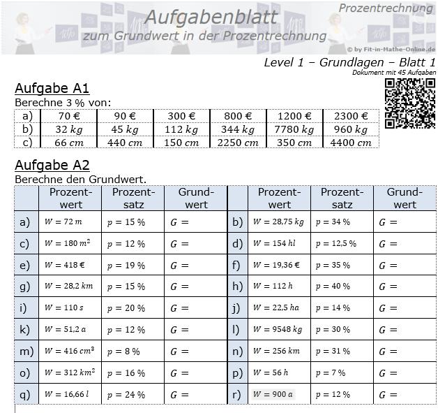 Grundwert in der Prozentrechnung Aufgabenblatt 1/1 / © by Fit-in-Mathe-Online.de