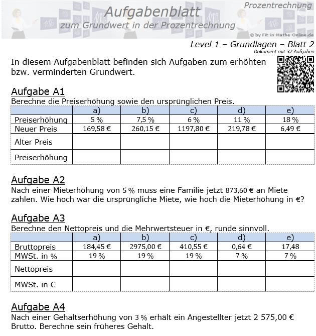 Grundwert in der Prozentrechnung Aufgabenblatt 1/2 / © by Fit-in-Mathe-Online.de