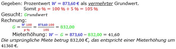 Prozentrechnung Grundwert Lösungen zum Aufgabensatz 2 Blatt 1/2 Grundlagen Bild 1/© by www.fit-in-mathe-online.de