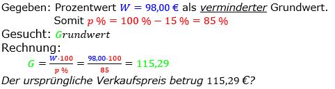 Prozentrechnung Grundwert Lösungen zum Aufgabensatz 6 Blatt 1/2 Grundlagen Bild 1/© by www.fit-in-mathe-online.de