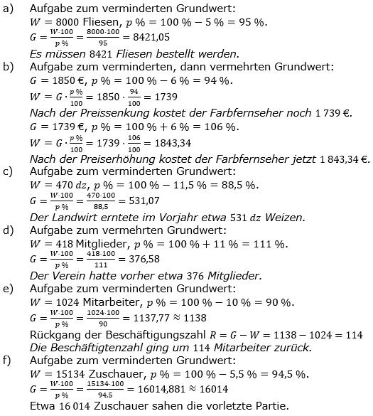 Prozentrechnung Grundwert Lösungen zum Aufgabensatz 9 Blatt 1/2 Grundlagen Bild 1/© by www.fit-in-mathe-online.de