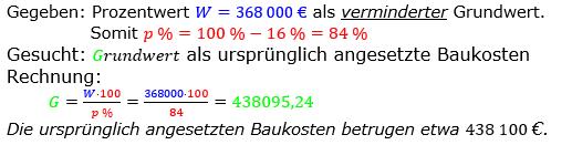 Prozentrechnung Grundwert Lösungen zum Aufgabensatz 10 Blatt 1/2 Grundlagen Bild 1/© by www.fit-in-mathe-online.de
