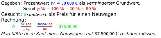 Prozentrechnung Grundwert Lösungen zum Aufgabensatz 11 Blatt 1/2 Grundlagen Bild 1/© by www.fit-in-mathe-online.de