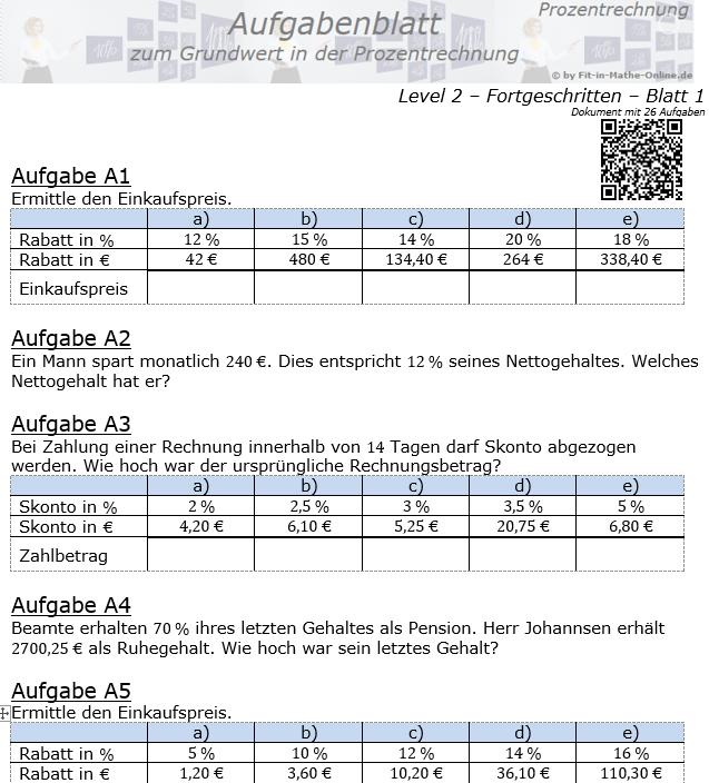 Grundwert in der Prozentrechnung Aufgabenblatt 2/1 / © by Fit-in-Mathe-Online.de
