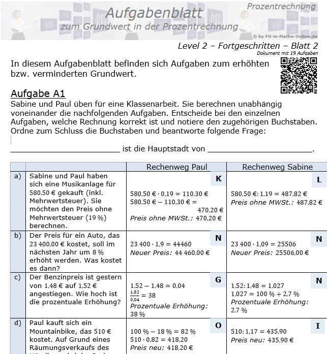 Grundwert in der Prozentrechnung Aufgabenblatt 2/2 / © by Fit-in-Mathe-Online.de