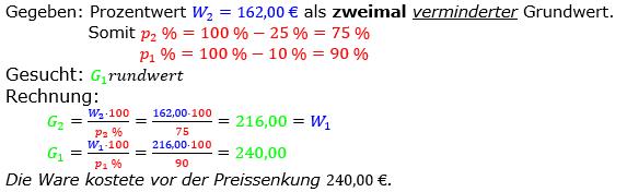 Prozentrechnung Grundwert Lösungen zum Aufgabensatz 03 Blatt 2/2 Fortgeschritten Bild 1/© by www.fit-in-mathe-online.de