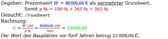 Prozentrechnung Grundwert Lösungen zum Aufgabensatz 05 Blatt 2/2 Fortgeschritten Bild 1/© by www.fit-in-mathe-online.de