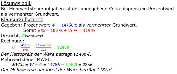 Prozentrechnung Grundwert Lösungen zum Aufgabensatz 14 Blatt 2/2 Fortgeschritten Bild 1/© by www.fit-in-mathe-online.de