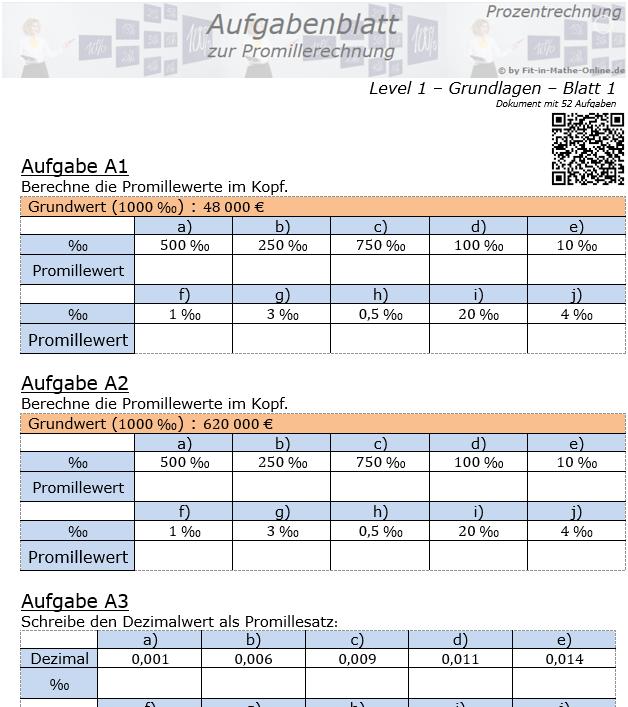 Promillerechnung Aufgabenblatt 1/1 / © by Fit-in-Mathe-Online.de