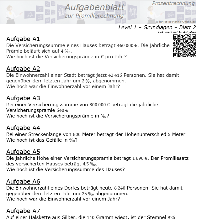 Promillerechnung Aufgabenblatt 1/2 / © by Fit-in-Mathe-Online.de