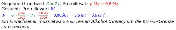 Promillerechnung Lösungen zum Aufgabensatz 9 Blatt 1/2 Grundlagen Bild 1/© by www.fit-in-mathe-online.de