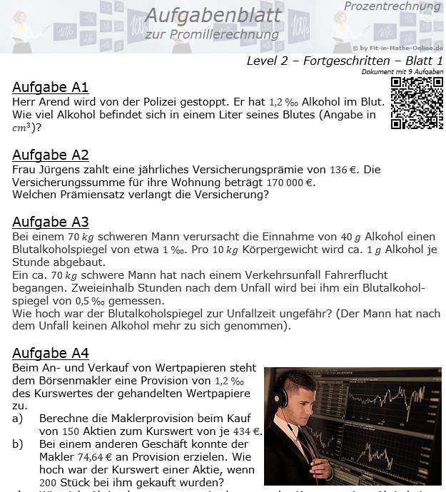 Promillerechnung Aufgabenblatt 2/1 / © by Fit-in-Mathe-Online.de