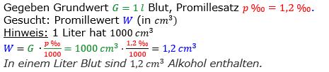 Promillerechnung Lösungen zum Aufgabensatz 1 Blatt 2/1 Fortgeschritten Bild 1/© by www.fit-in-mathe-online.de