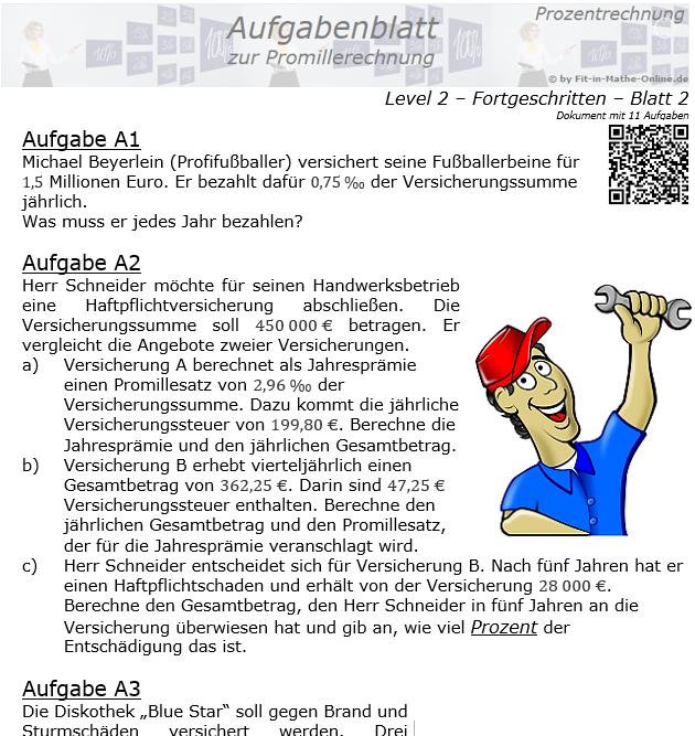 Promillerechnung Aufgabenblatt 2/2 / © by Fit-in-Mathe-Online.de
