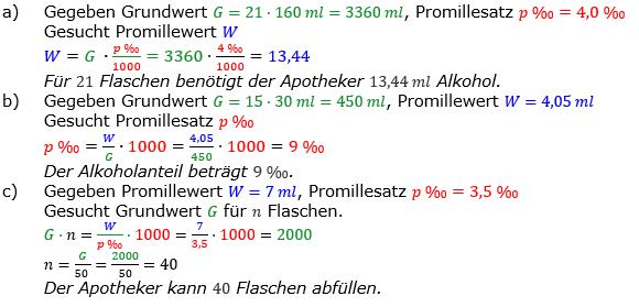 Promillerechnung Lösungen zum Aufgabensatz 5 Blatt 2/2 Fortgeschritten Bild 1/© by www.fit-in-mathe-online.de