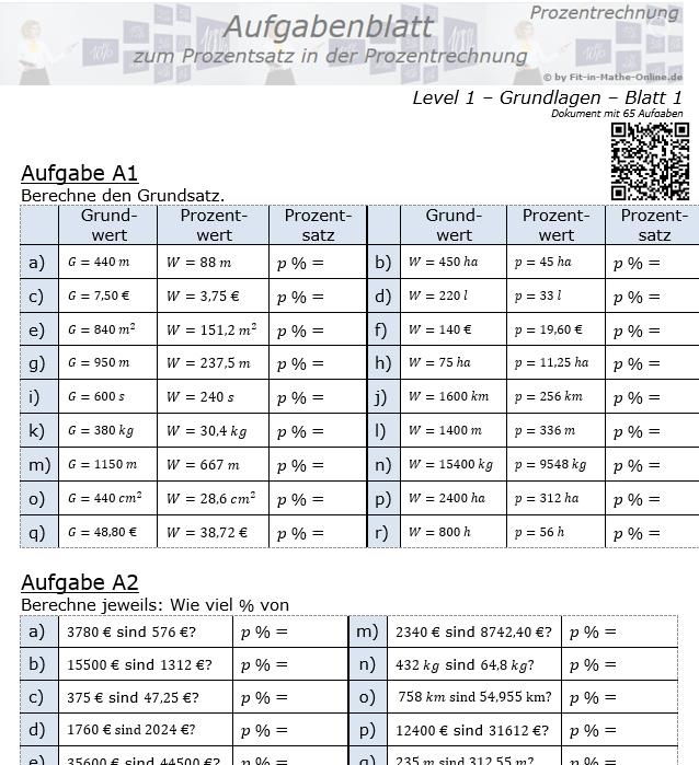 Prozentsatz in der Prozentrechnung Aufgabenblatt 1/1 / © by Fit-in-Mathe-Online.de