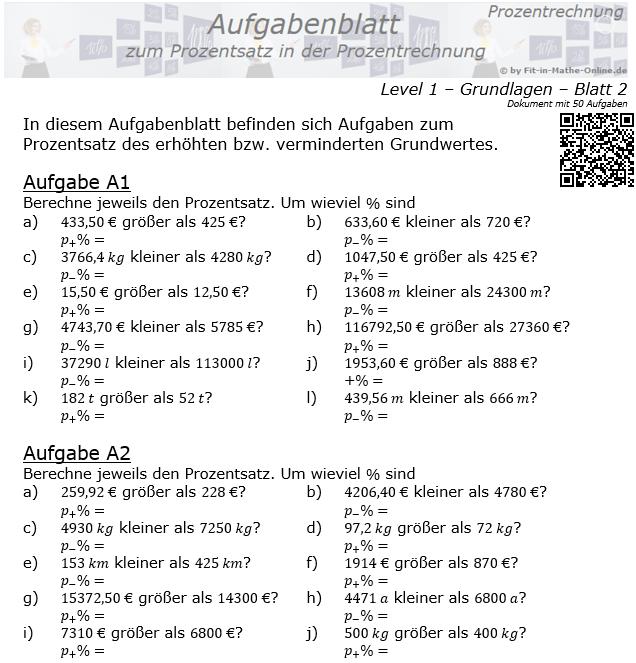 Prozentsatz in der Prozentrechnung Aufgabenblatt 1/2 / © by Fit-in-Mathe-Online.de