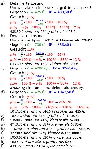 Prozentrechnung Prozentsatz Lösungen zum Aufgabensatz 1 Blatt 1/2 Grundlagen Bild 1/© by www.fit-in-mathe-online.de