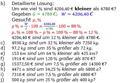 Prozentrechnung Prozentsatz Lösungen zum Aufgabensatz 2 Blatt 1/2 Grundlagen Bild 2/© by www.fit-in-mathe-online.de