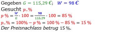 Prozentrechnung Prozentsatz Lösungen zum Aufgabensatz 6 Blatt 1/2 Grundlagen Bild 1/© by www.fit-in-mathe-online.de