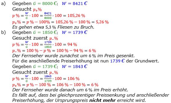 Prozentrechnung Prozentsatz Lösungen zum Aufgabensatz 9 Blatt 1/2 Grundlagen Bild 1/© by www.fit-in-mathe-online.de