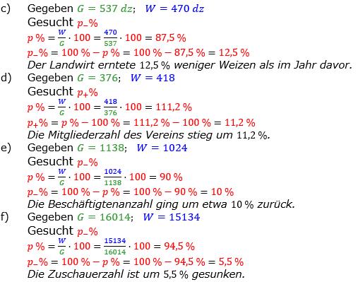 Prozentrechnung Prozentsatz Lösungen zum Aufgabensatz 9 Blatt 1/2 Grundlagen Bild 2/© by www.fit-in-mathe-online.de