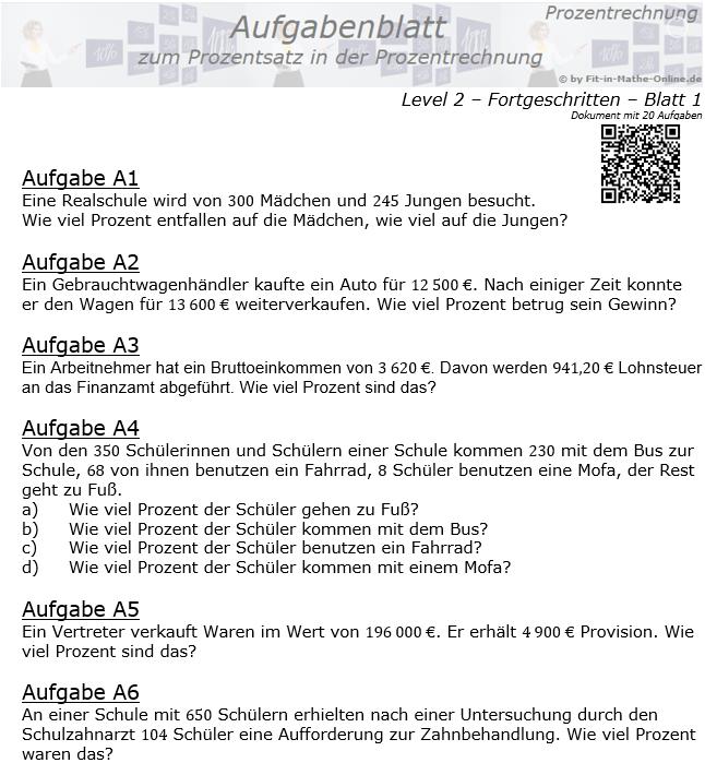 Prozentsatz in der Prozentrechnung Aufgabenblatt 2/1 / © by Fit-in-Mathe-Online.de