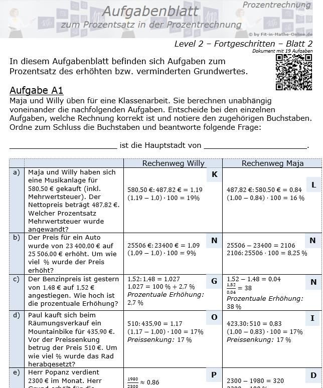 Prozentsatz in der Prozentrechnung Aufgabenblatt 2/2 / © by Fit-in-Mathe-Online.de