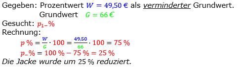 Prozentrechnung Prozentsatz Lösungen zum Aufgabensatz 11 Blatt 2/2 Fortgeschritten Bild 1/© by www.fit-in-mathe-online.de