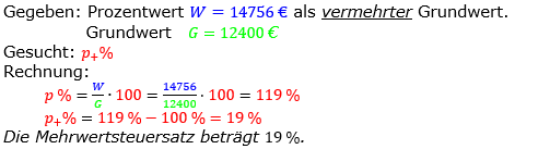 Prozentrechnung Prozentsatz Lösungen zum Aufgabensatz 14 Blatt 2/2 Fortgeschritten Bild 1/© by www.fit-in-mathe-online.de