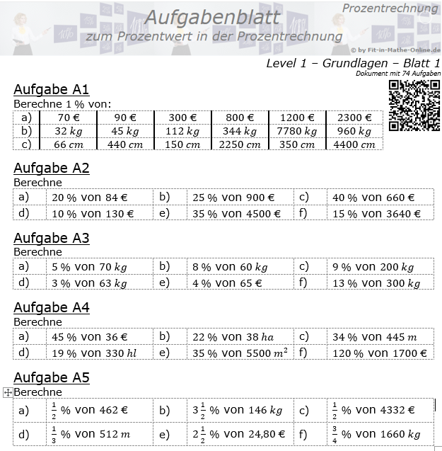 Prozentwert in der Prozentrechnung Aufgabenblatt 1/1 / © by Fit-in-Mathe-Online.de