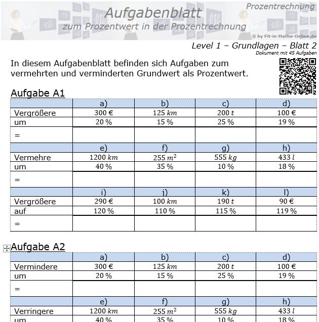 Prozentwert in der Prozentrechnung Aufgabenblatt 1/2 / © by Fit-in-Mathe-Online.de